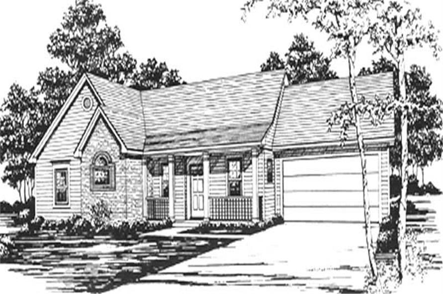 3-Bedroom, 1343 Sq Ft Ranch Home Plan - 124-1056 - Main Exterior