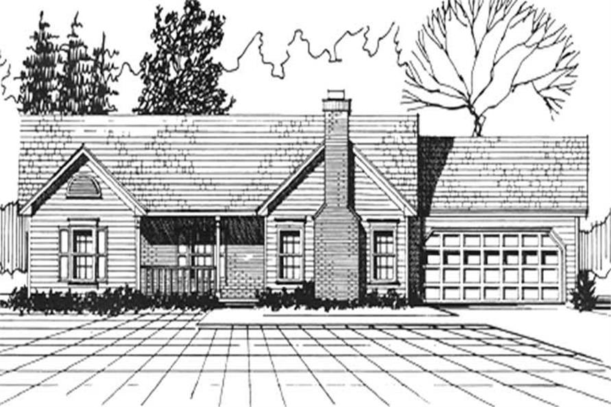 3-Bedroom, 1312 Sq Ft Ranch Home Plan - 124-1057 - Main Exterior