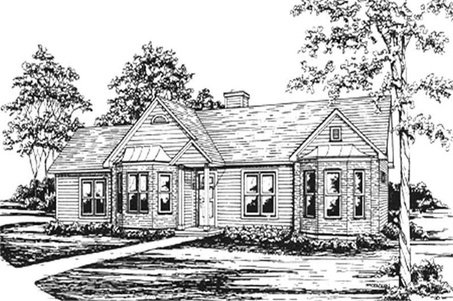 3-Bedroom, 1256 Sq Ft Ranch Home Plan - 124-1058 - Main Exterior