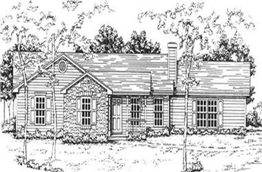 3-Bedroom, 1208 Sq Ft Ranch Home Plan - 124-1059 - Main Exterior