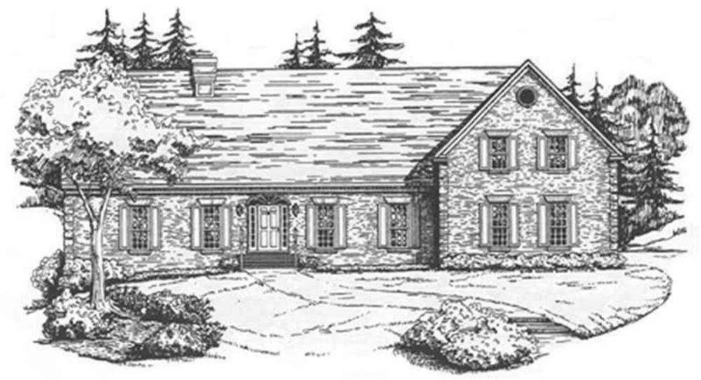 Front elevation of Colonial home (ThePlanCollection: House Plan #124-1062)