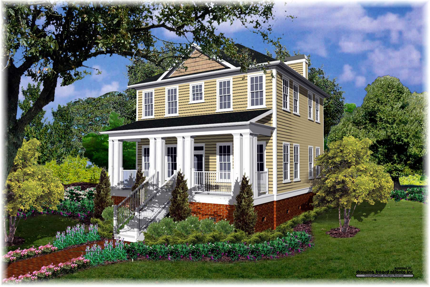 Southern Colonial House Plan - 3 Bedrm, 2 Bath, 1740 Sq Ft