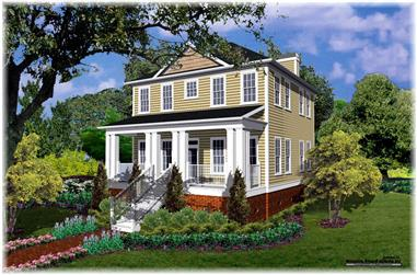 Front elevation of Colonial home (ThePlanCollection: House Plan #124-1070)