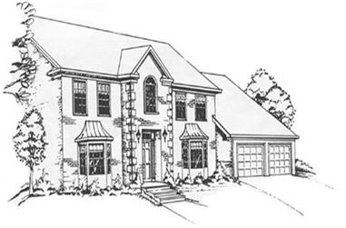 5-Bedroom, 3483 Sq Ft Colonial Home Plan - 124-1080 - Main Exterior