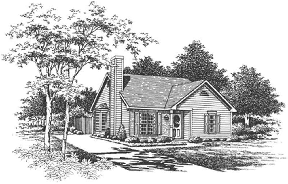 Front elevation of Bungalow home (ThePlanCollection: House Plan #124-1082)