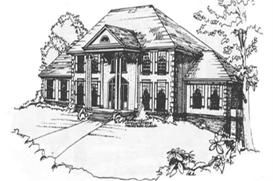 3-Bedroom, 4895 Sq Ft Colonial Home Plan - 124-1083 - Main Exterior