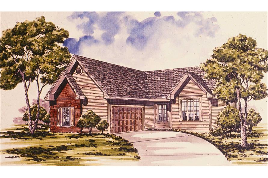 Front elevation of Ranch home (ThePlanCollection: House Plan #124-1092)
