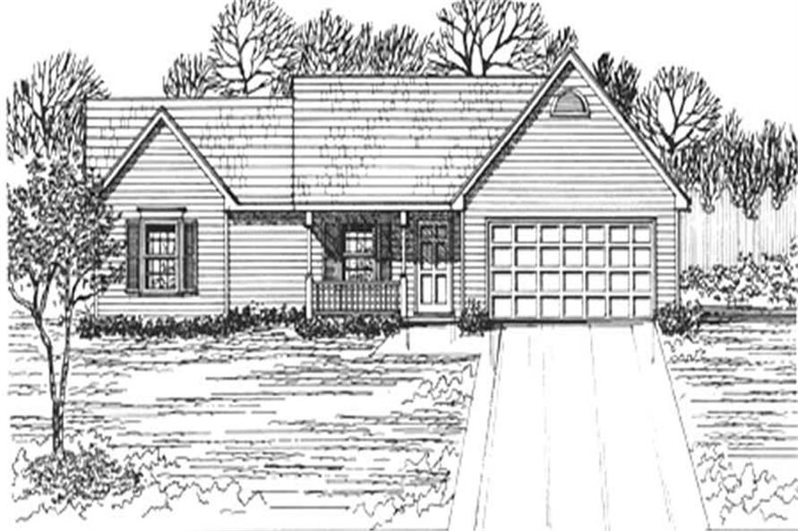 3-Bedroom, 1207 Sq Ft Ranch House Plan - 124-1093 - Front Exterior