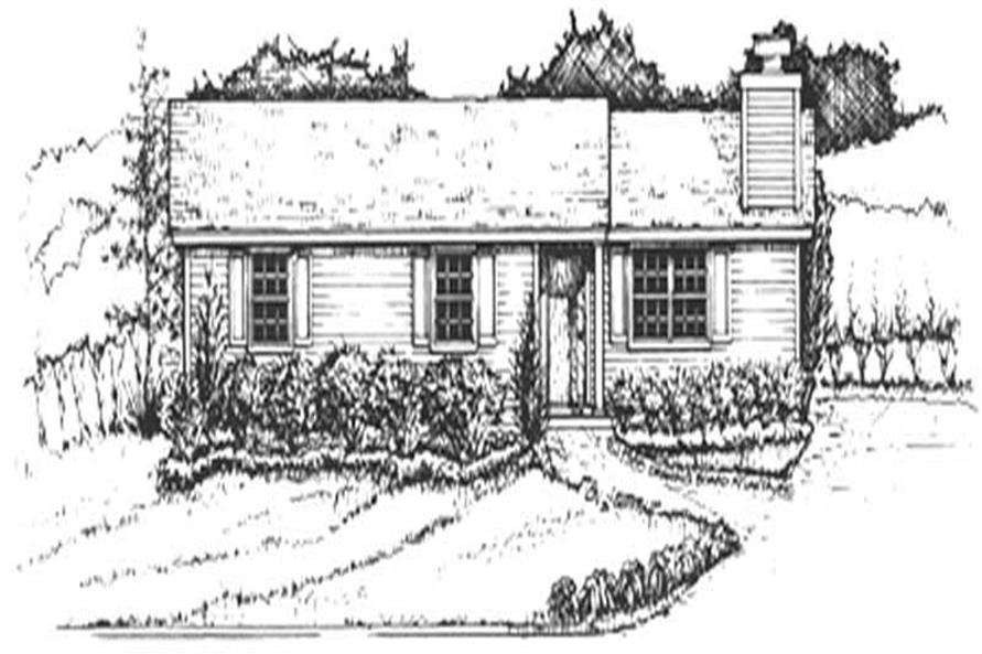 3-Bedroom, 1056 Sq Ft Ranch House Plan - 124-1102 - Front Exterior