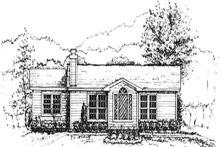 3-Bedroom, 1032 Sq Ft Ranch House Plan - 124-1105 - Front Exterior