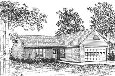 3-Bedroom, 1284 Sq Ft Ranch Home Plan - 124-1106 - Main Exterior