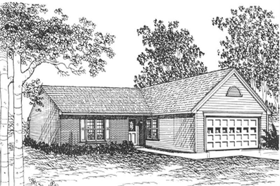 Front elevation of Ranch home (ThePlanCollection: House Plan #124-1106)