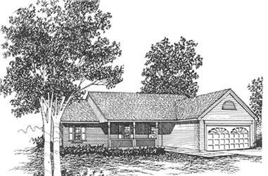3-Bedroom, 1205 Sq Ft Ranch Home Plan - 124-1107 - Main Exterior