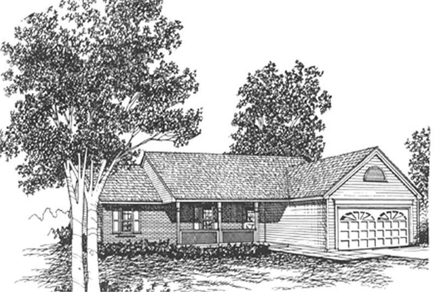 3-Bedroom, 1205 Sq Ft Ranch Home Plan - 124-1107 - Main Exterior