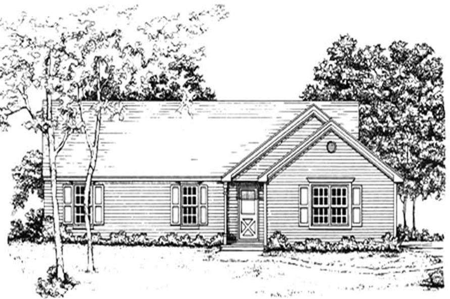 3-Bedroom, 1205 Sq Ft Country Home Plan - 124-1108 - Main Exterior
