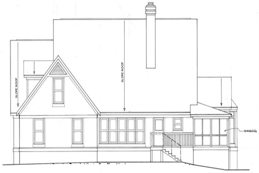 Home Plan Rear Elevation of this 4-Bedroom,3100 Sq Ft Plan -124-1111