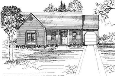 3-Bedroom, 1350 Sq Ft Ranch Home Plan - 124-1112 - Main Exterior