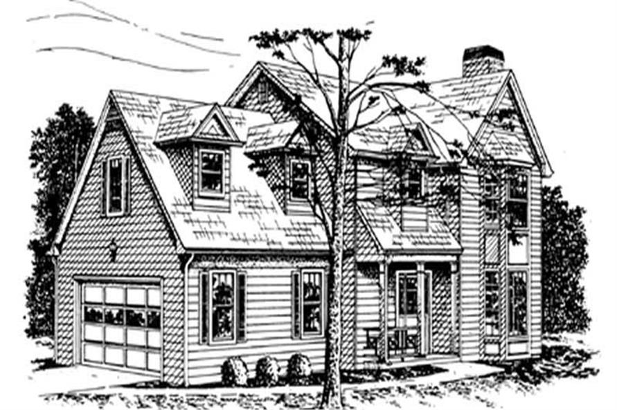 2-Bedroom, 1776 Sq Ft Colonial Home Plan - 124-1123 - Main Exterior