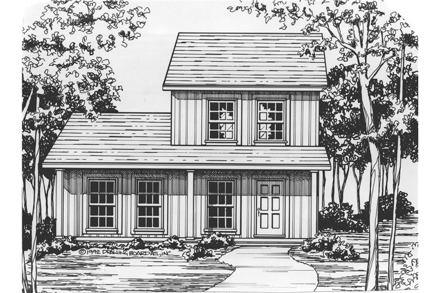 Home Plan Front Elevation of this 3-Bedroom,1136 Sq Ft Plan -124-1130