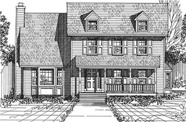 3-Bedroom, 2235 Sq Ft Colonial House Plan - 124-1132 - Front Exterior