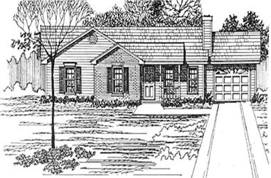3-Bedroom, 1180 Sq Ft Ranch House Plan - 124-1137 - Front Exterior