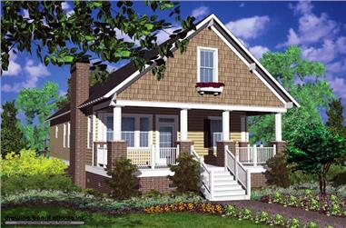 Front elevation of Small House Plans home (ThePlanCollection: House Plan #124-1159)