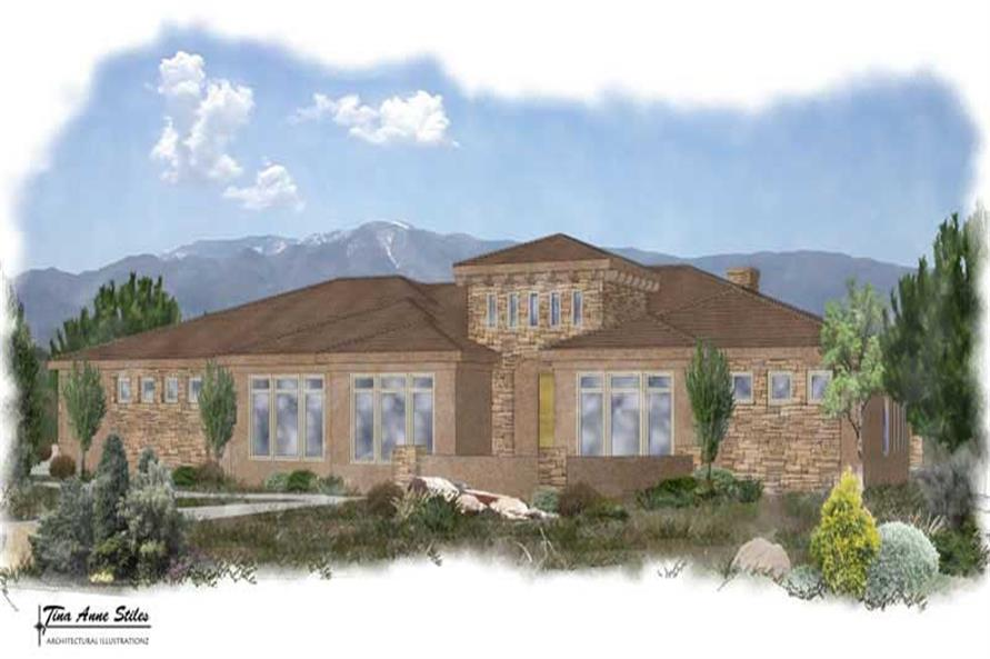 4-Bedroom, 2594 Sq Ft Mediterranean House Plan - 125-1000 - Front Exterior