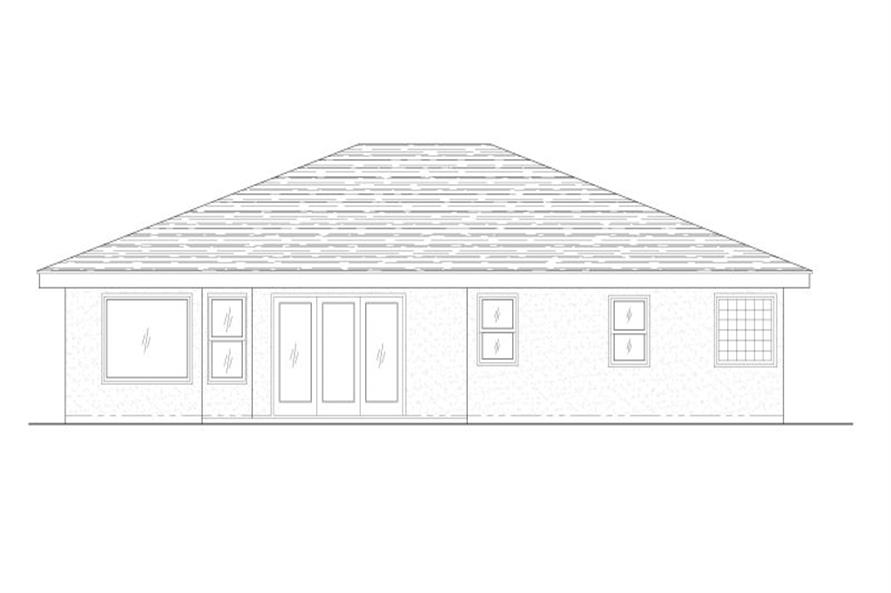 Home Plan Rear Elevation of this 3-Bedroom,1834 Sq Ft Plan -125-1021
