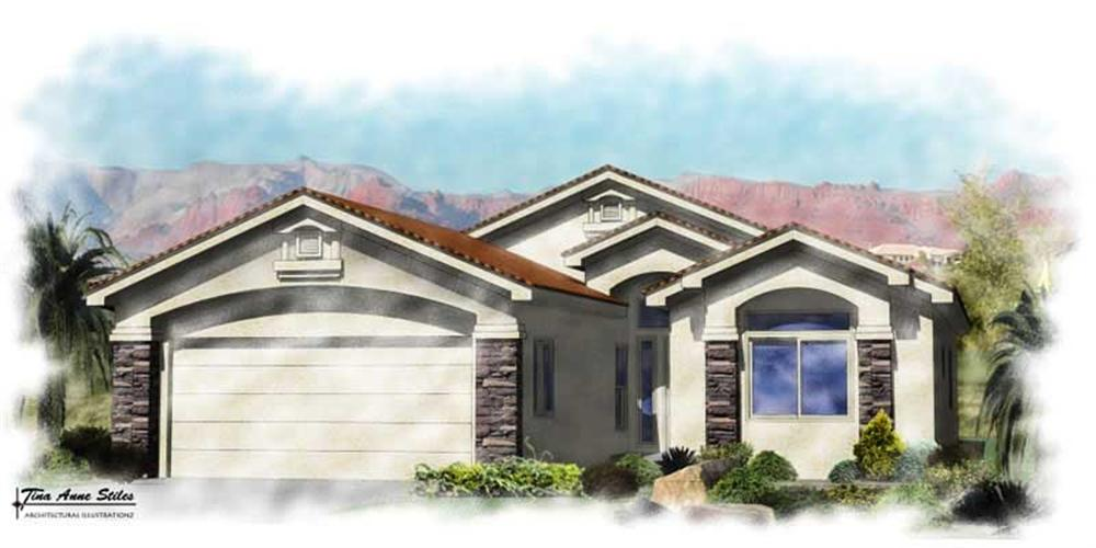 Front elevation of Contemporary home (ThePlanCollection: House Plan #125-1022)
