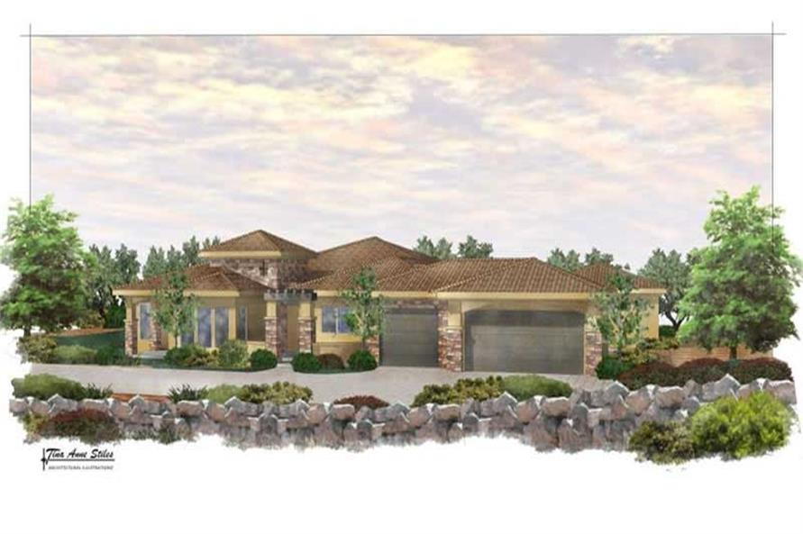 4-Bedroom, 3443 Sq Ft California Style Home Plan - 125-1025 - Main Exterior