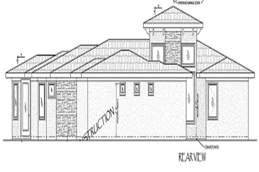 125-1039: Home Plan Rear Elevation