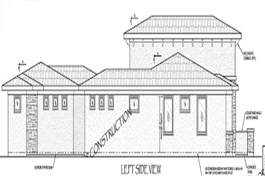 Home Plan Left Elevation of this 5-Bedroom,2422 Sq Ft Plan -125-1039