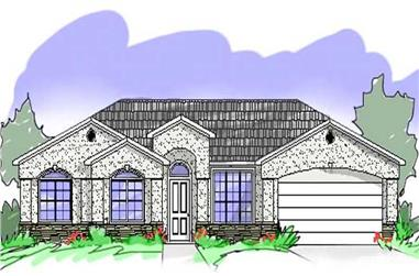 4-Bedroom, 1612 Sq Ft Mediterranean Home Plan - 125-1040 - Main Exterior