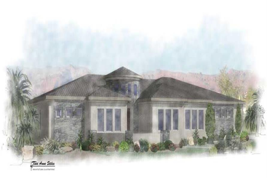 4-Bedroom, 2693 Sq Ft Mediterranean Home Plan - 125-1042 - Main Exterior