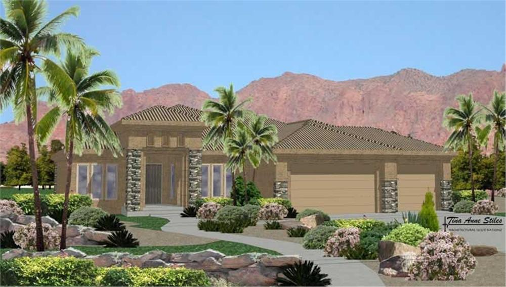 Front elevation of Mediterranean home (ThePlanCollection: House Plan #125-1044)