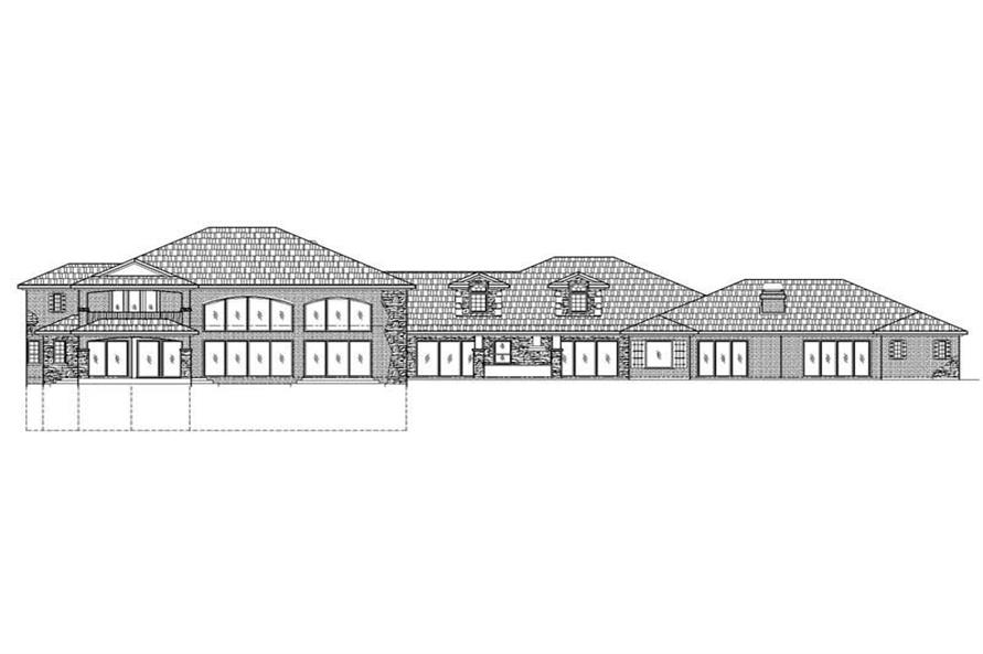Home Plan Rear Elevation of this 5-Bedroom,8982 Sq Ft Plan -125-1045