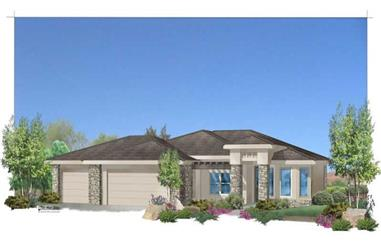 3-Bedroom, 1969 Sq Ft Contemporary House Plan - 125-1048 - Front Exterior