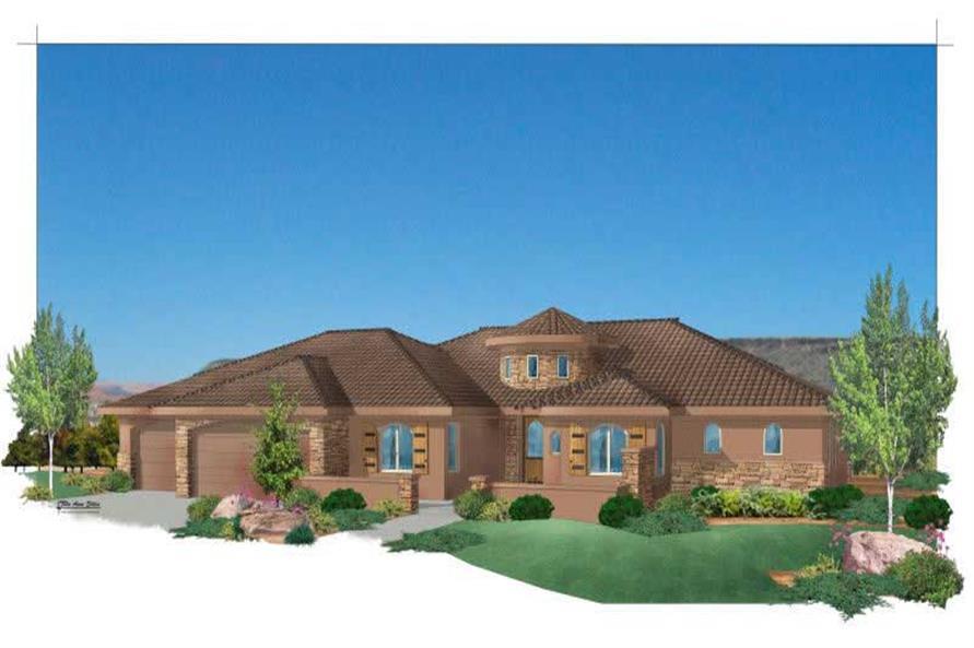 5-Bedroom, 3109 Sq Ft Southwest House Plan - 125-1154 - Front Exterior