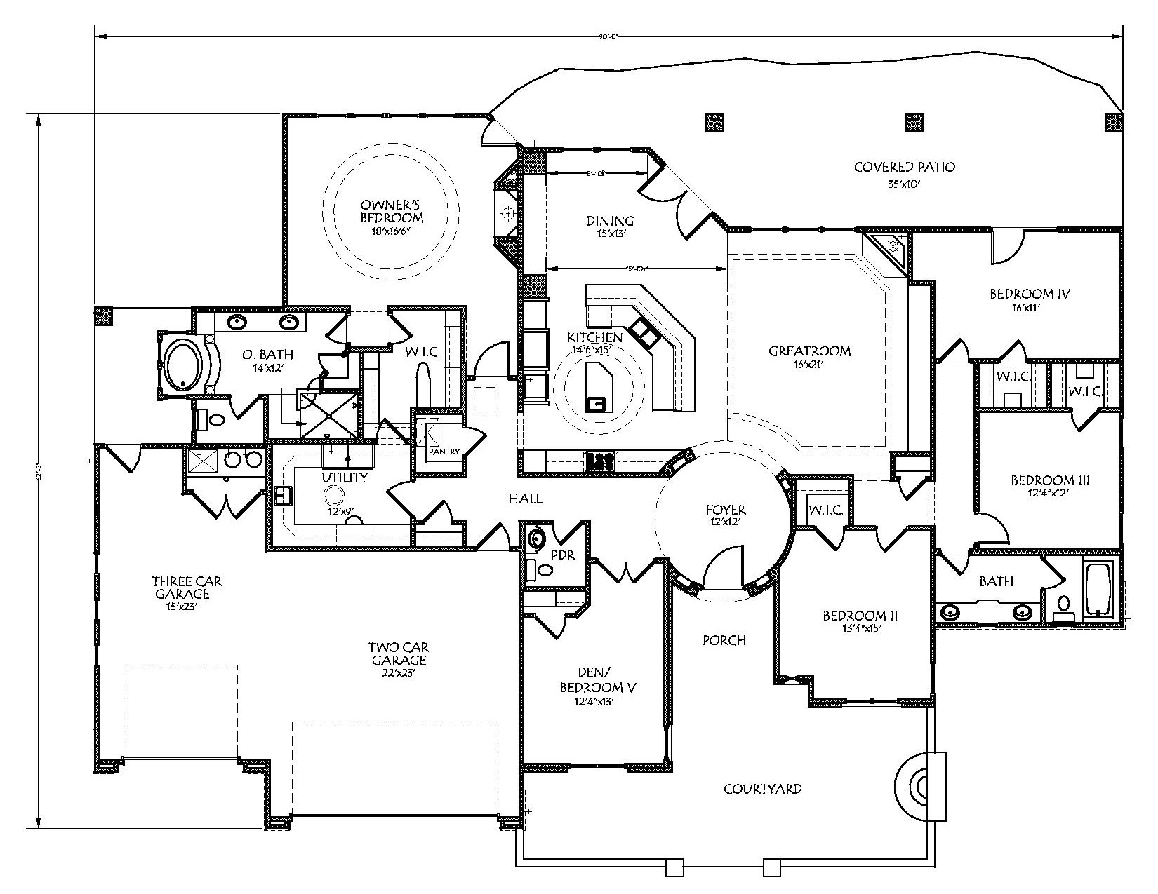 125-1154 house plan first floor