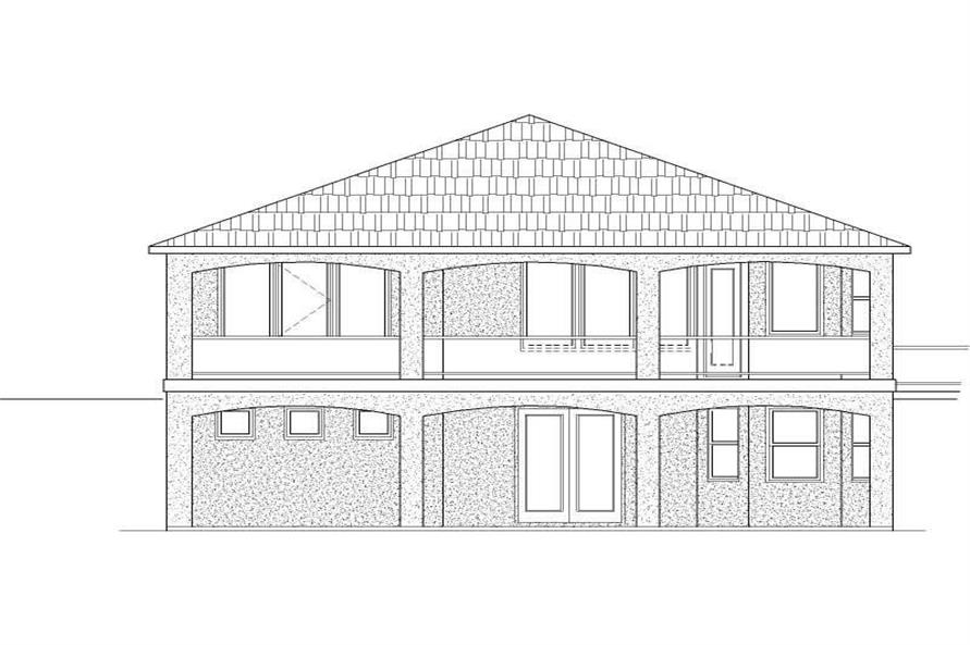 Home Plan Rear Elevation of this 3-Bedroom,3728 Sq Ft Plan -125-1169