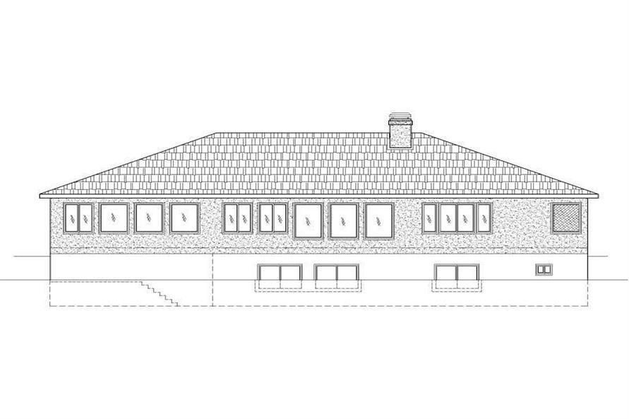Home Plan Rear Elevation of this 4-Bedroom,5516 Sq Ft Plan -125-1177