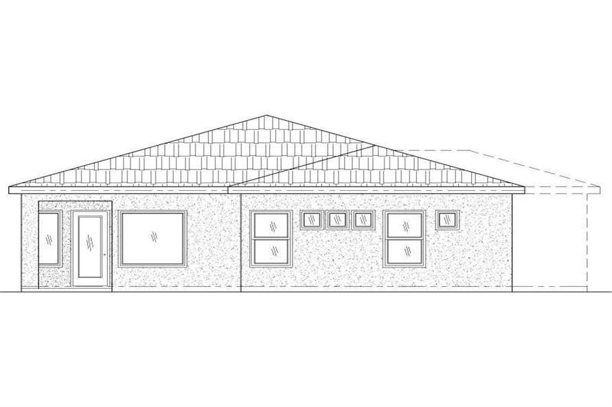 Home Plan Rear Elevation of this 2-Bedroom,1221 Sq Ft Plan -125-1179