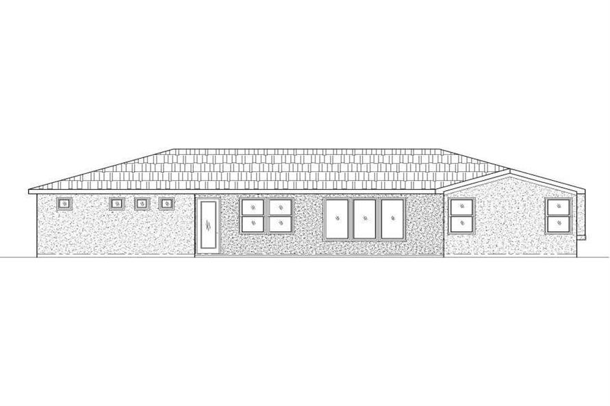 Home Plan Rear Elevation of this 3-Bedroom,1556 Sq Ft Plan -125-1183