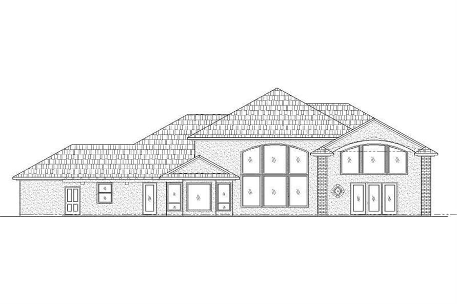 Home Plan Rear Elevation of this 2-Bedroom,3775 Sq Ft Plan -125-1189
