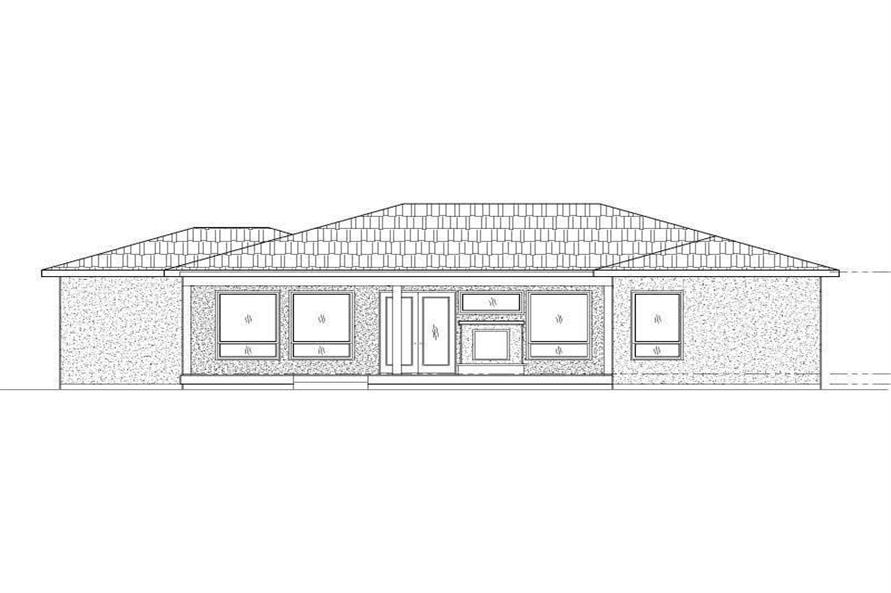Home Plan Rear Elevation of this 3-Bedroom,2132 Sq Ft Plan -125-1198