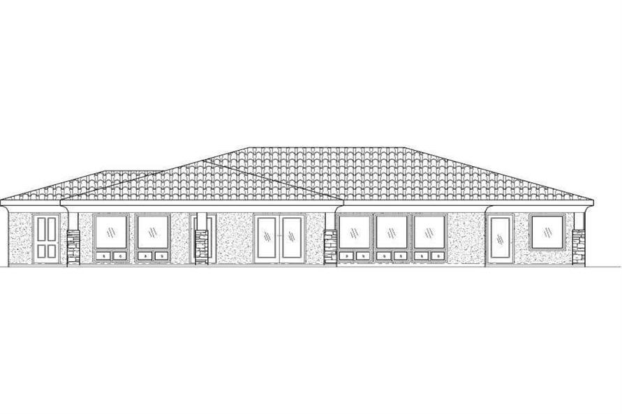 Home Plan Rear Elevation of this 4-Bedroom,2308 Sq Ft Plan -125-1209