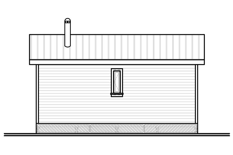 Home Plan Rear Elevation of this 2-Bedroom,480 Sq Ft Plan -126-1000