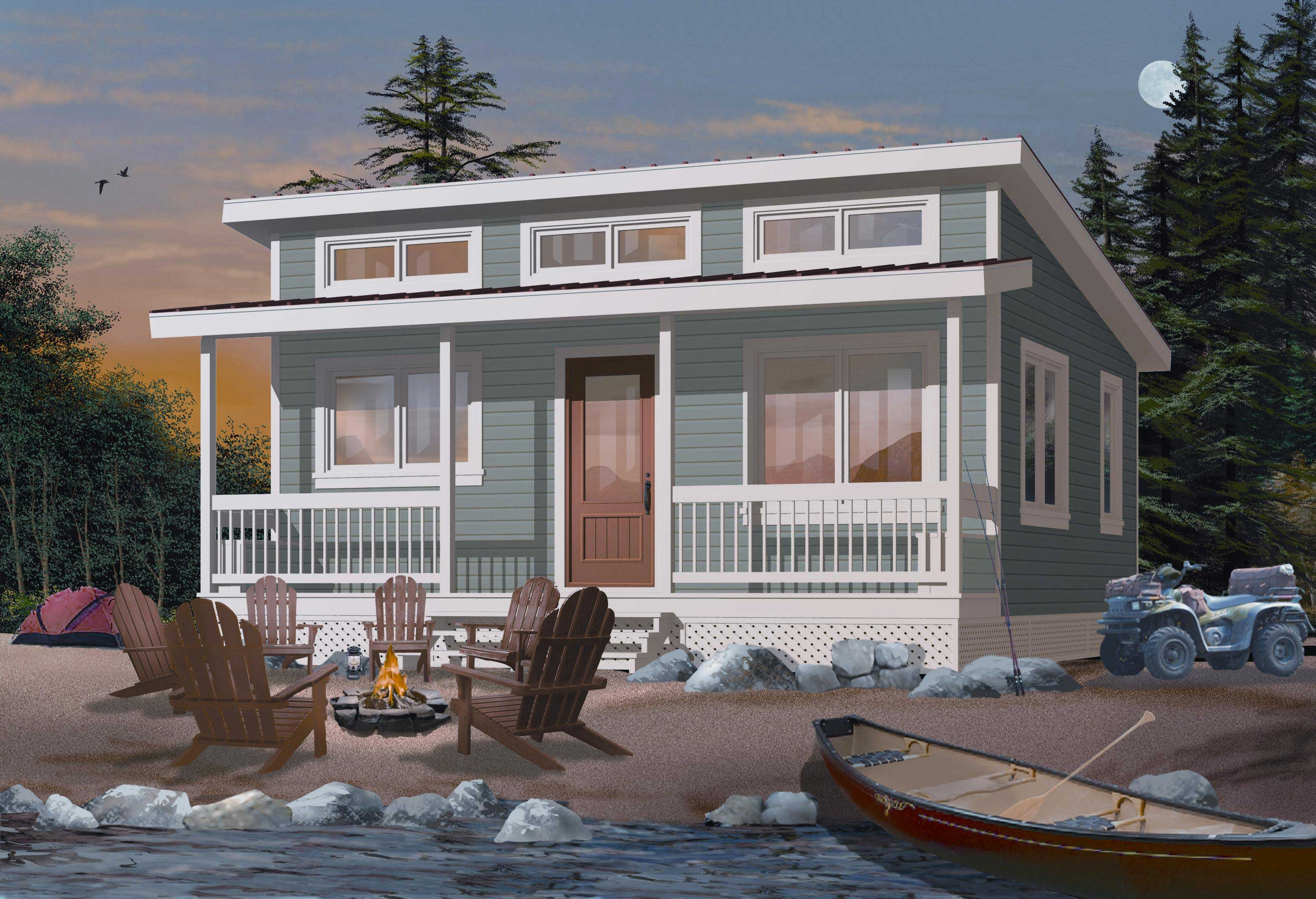 #126-1000  This is a very detailed rendering of these Small House Plans  Vacation Home.