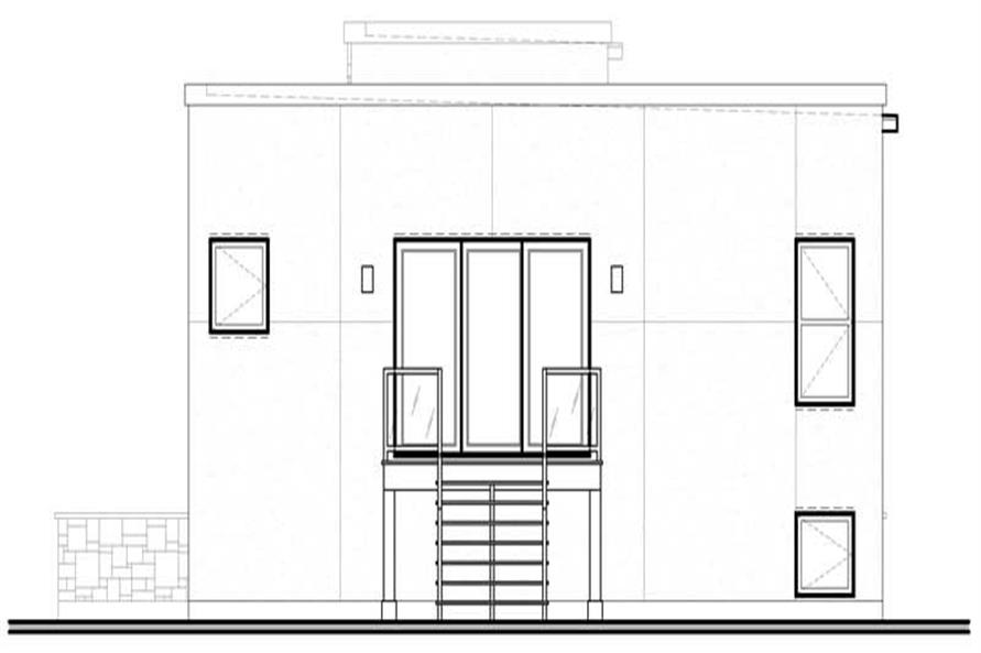 Home Plan Rear Elevation of this 2-Bedroom,1210 Sq Ft Plan -126-1001