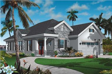 3-Bedroom, 1634 Sq Ft Bungalow House Plan - 126-1003 - Front Exterior
